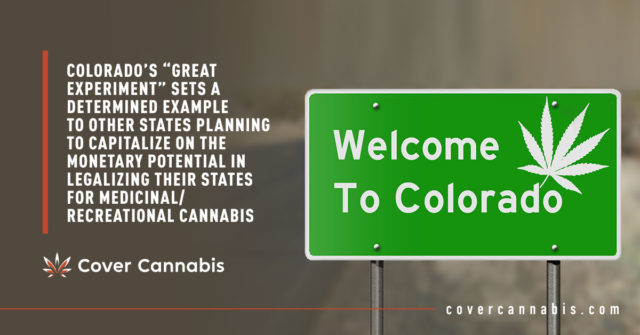 "Welcome to Colorado Road Sign - Banner Image for Colorado's ""Great Experiment"" Sets A Determined Example To Other States Planning To Capitalize On The Monetary Potential In Legalizing Their States For Medicinal/Recreational Cannabis Blog"