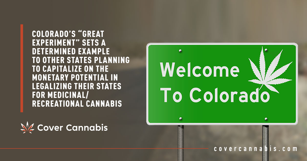 """Welcome to Colorado Road Sign - Banner Image for Colorado's """"Great Experiment"""" Sets A Determined Example To Other States Planning To Capitalize On The Monetary Potential In Legalizing Their States For Medicinal/Recreational Cannabis Blog"""