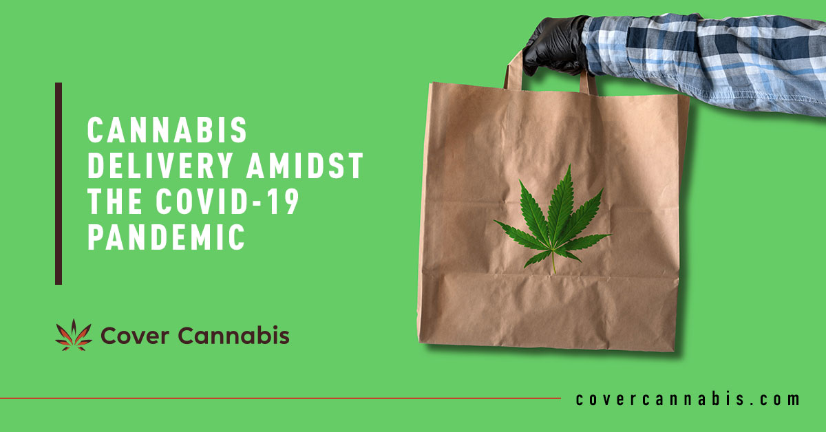 Delivery Man Holding Paper Bag - Banner Image for Cannabis Delivery Amidst The COVID-19 Pandemic Blog