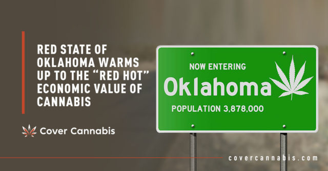 "Oklahoma Road Sign - Banner Image for Red State of Oklahoma Warms Up to the ""Red Hot"" Economic Value of Cannabis Blog"